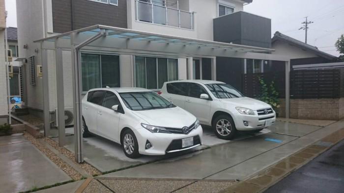 北名古屋市 2台用カーポート 前梁延長 YKK エフルージュツイン SA様邸