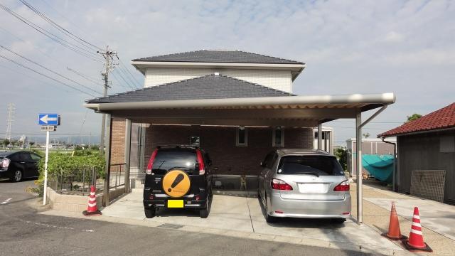 セッパンガレージ 2台用カーポート 変形地 ガーデンルーム LIXIL ZIMA M様邸