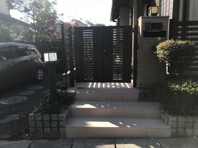 守山区 門まわり 階段 300角タイル リフォーム K様邸