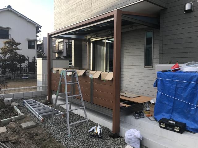守山区 三協ガーデンルーム ハピーナ 2.0間✖6尺 アルミ腰パネル デッキin仕様 M様邸