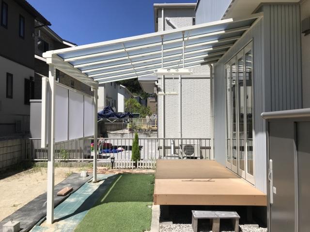 長久手市 O様邸 1階テラス LIXILスピーネ 1.5間×10尺 前面パネル1段 屋根:熱線遮断