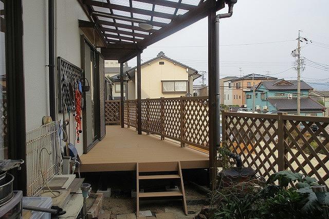 瀬戸市 Ⅿ様 木製デッキ 解体・撤去・処分 新設 YKKAP リウッド200 変形 デッキフェンスH1000