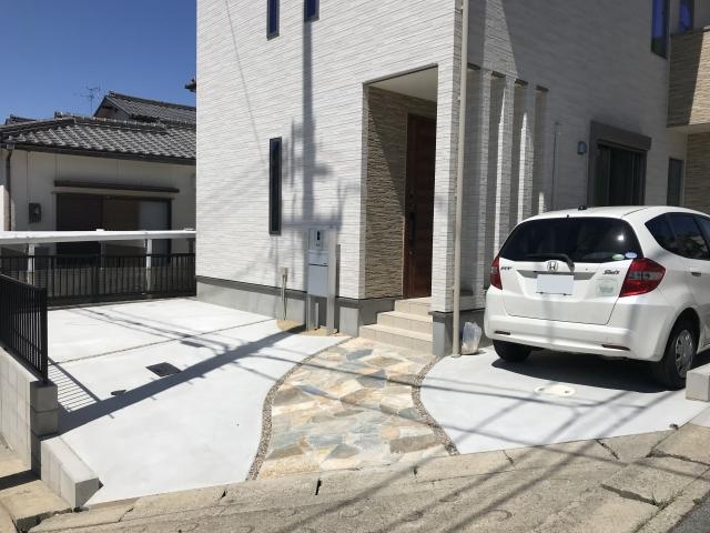 瀬戸市 新築外構工事 ネクストハウス アプローチ 天然石石貼り
