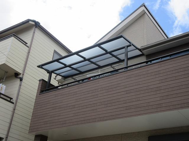 尾張旭市 O様 2階用テラス LIXIL スピーネF型 2.0K×5尺 オータムブラウン 熱線遮断ポリカ クリアマット