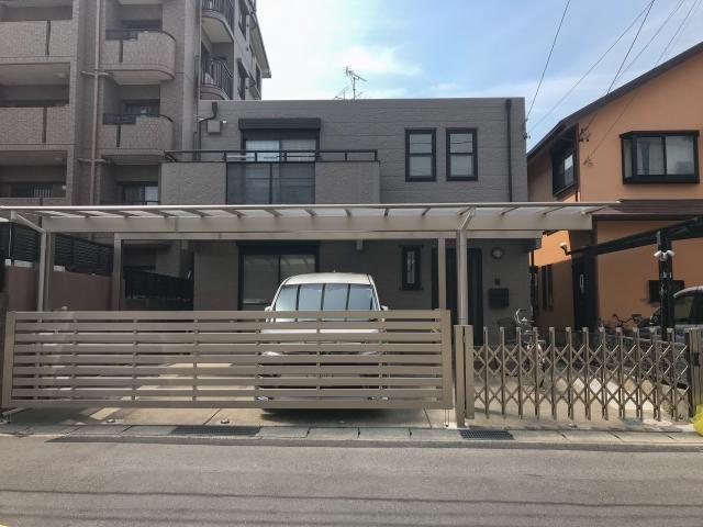 守山区カーポート・跳ね上げ門扉・カーテンゲート