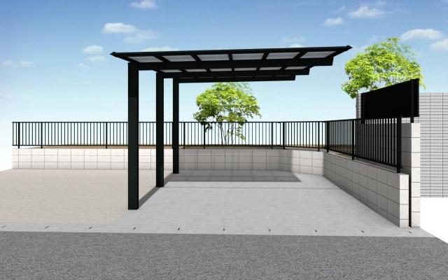 尾張旭市 駐車場増設 カーポート1台用 セルフィ5433 H23 屋根:熱線遮断 ブロック+フェンス工事