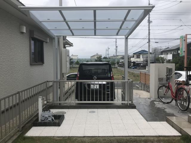 尾張旭市 サイクルポート 庭平板工事