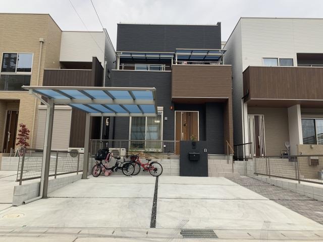 尾張旭市 カーポート1台用+2階テラス+手すり+フェンス