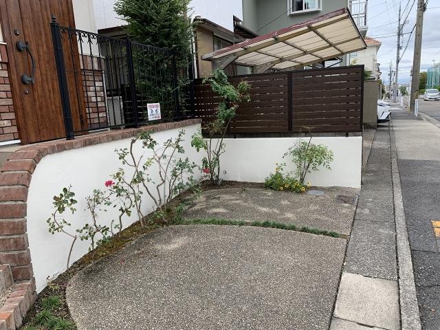 名東区 木製フェンス取り換え、三協アルミ シャトレナM1型。ブロック塀の塗り替え、四国化成パレット塗り替え