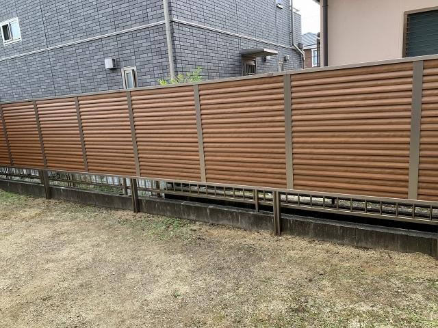 尾張旭市 目隠しフェンス 三協アルミ シャトレナM3型(オレンジチェリー+アーバングレー)H1.2m