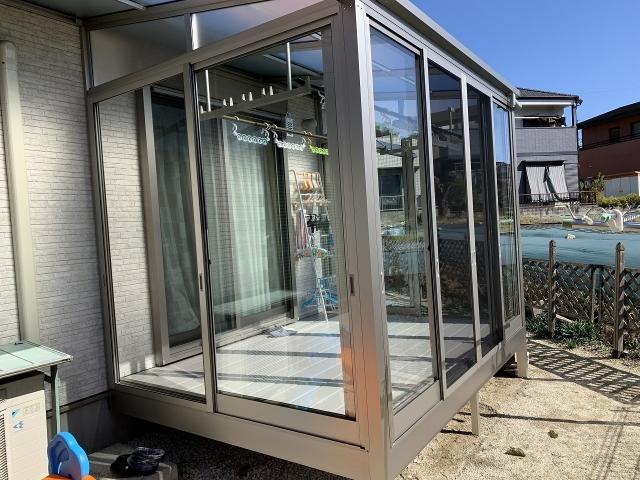尾張旭市 サンルーム+テラス ソレイドFタイプ 1.5K×7尺+ジョイントテラス2.0K×7尺