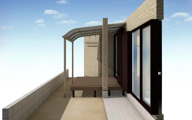 瀬戸市  テラス屋根・ウッドデッキ工事 三協 レボリューA 1階 R型 標準納まり 関東間 1.5間×8尺 標準柱 色アーバングレー 屋根かすみ調 三協 ひとと木 1.5間×7尺 標準柱 色ローズウッド