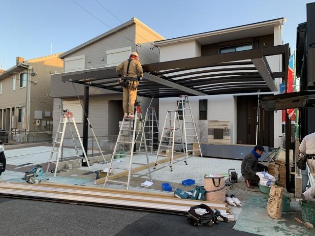 守山区 2台用カーポート 三協Uスタイルアゼスト 吊下げタイプ H30 屋根5430タイプ×2/フレーム DF70×2