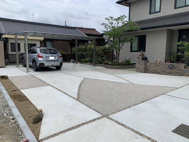 尾張旭市 スカイリード5054(奥行5.0m×間口5.4m)土間コンクリート+洗い出し仕上げ