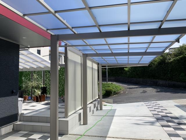 瀬戸市 リクシルVSテラス3.0K×12尺(間口5.9m×出幅3.6m) 目隠しフェンス Gスクリーン H24 19m