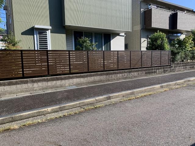 守山区 三協アルミ シャトレナM1型フェンス(トラッッドパイン+ダークブロンズ) H=1.2m